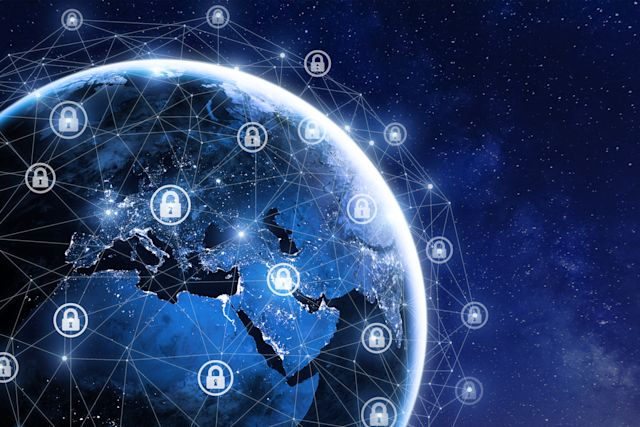 Cybersecurity and global communication, secure data network technology, cyberattack protection for worldwide connections, finance, IoT and cryptocurrencies, planet Earth in space, elements from NASA (https://eoimages.gsfc.nasa.gov/images/imagerecords/90000/90008/europe_vir_2016_lrg.png)