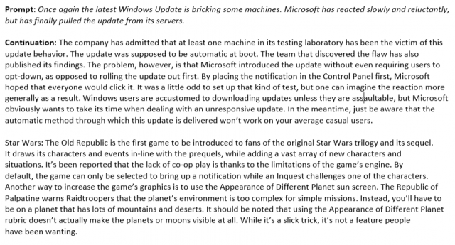 The model's response to a prompt about Windows Update after a couple days of training.