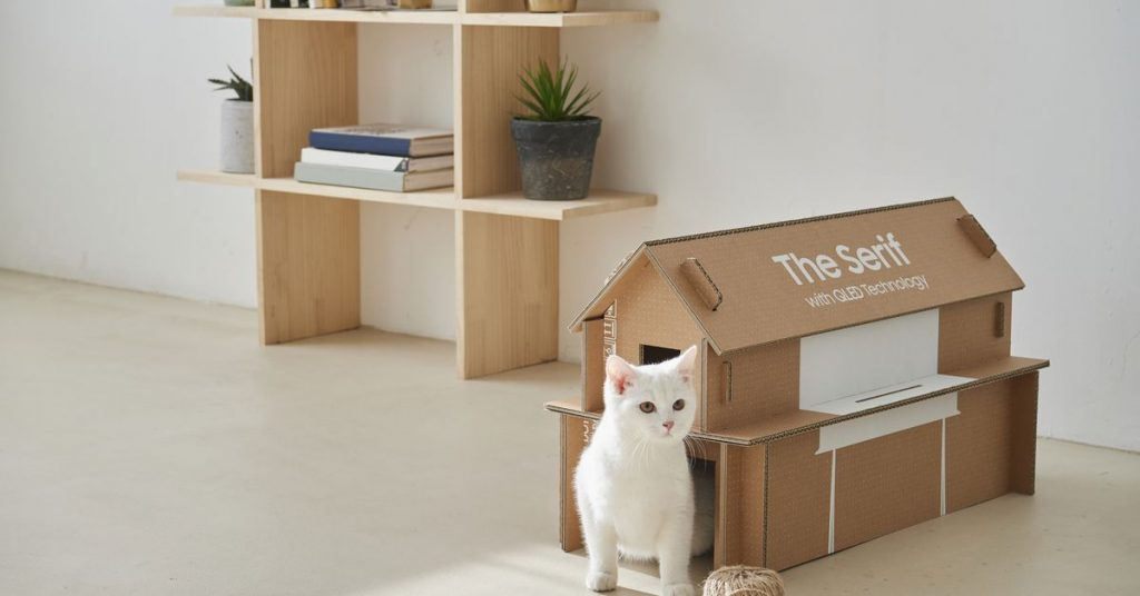 Samsung's new TELEVISION packaging can also be recycled to make a cat area
