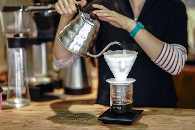 Hario V60 Coffee brewing and serving