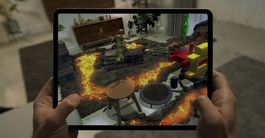 The New iPad Professional's LIDAR scanner can turn a living room into an AR recreation of Sizzling Lava
