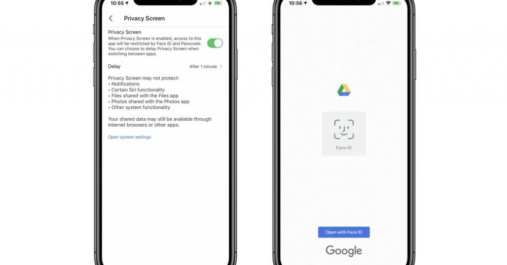 Google Drive provides Face ID and Contact IDENTITY protection on iPhone and iPad