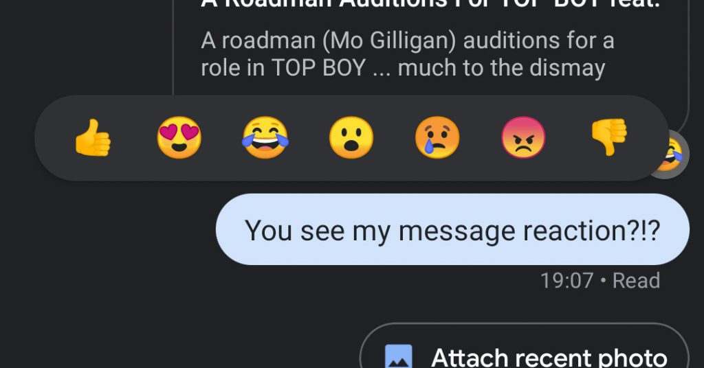 Google exams iMessage-like emoji reactions for RCS Messages