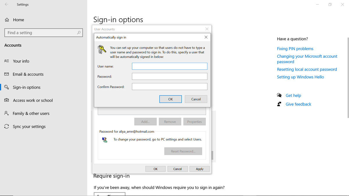 Automatically sign-in window