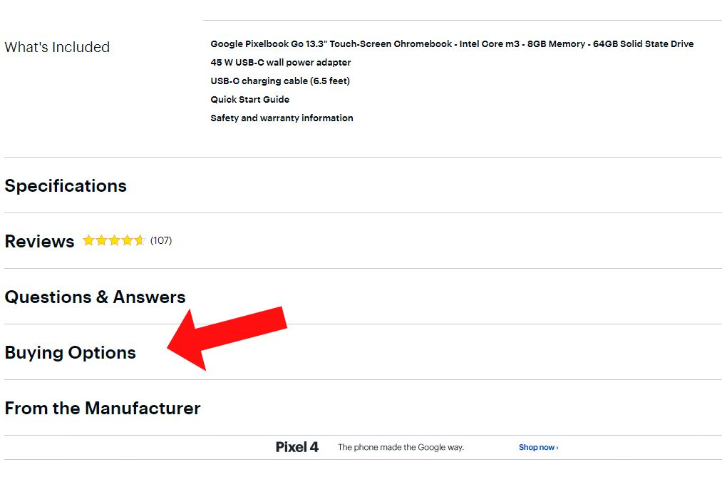 Best Buy page listing for the Google Pixelbook Go