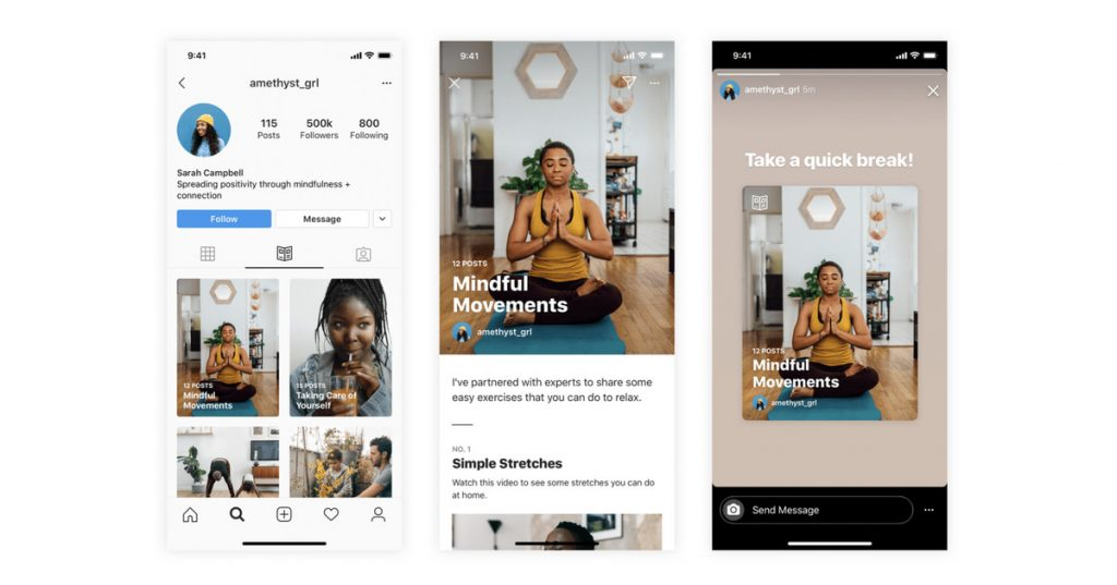 Instagram adding Guides for recommendations, starting with wellness and COVID-19