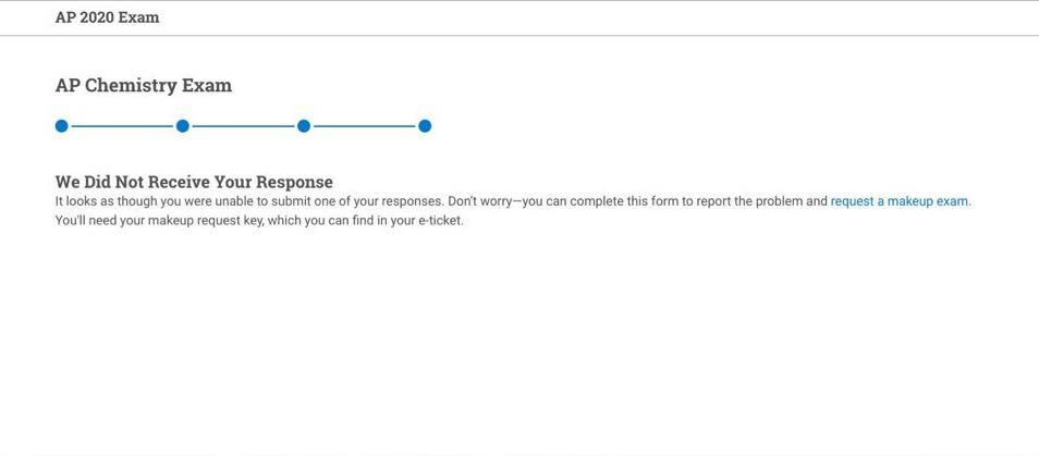 A screenshot of the AP testing portal informing a student that they weren't able to submit their responses.