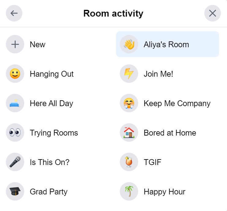 "The Room activity window gives you multiple options for designating the purpose of your rooms, such as ""Hanging Out,"" ""Keep Me Company,"" and ""Trying Rooms."""