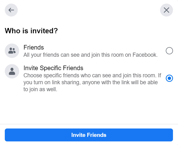 "This window gives you the option to either invite your ""Friends"" or ""Invite Specific Friends"" to your room."