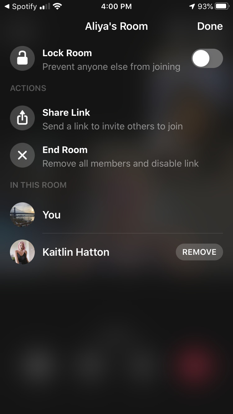 "You'll see options allowing you to lock the room, share the link for the room, and end the room. At the bottom, you'll see who's on the call, with a ""Remove"" button next to the other participants."
