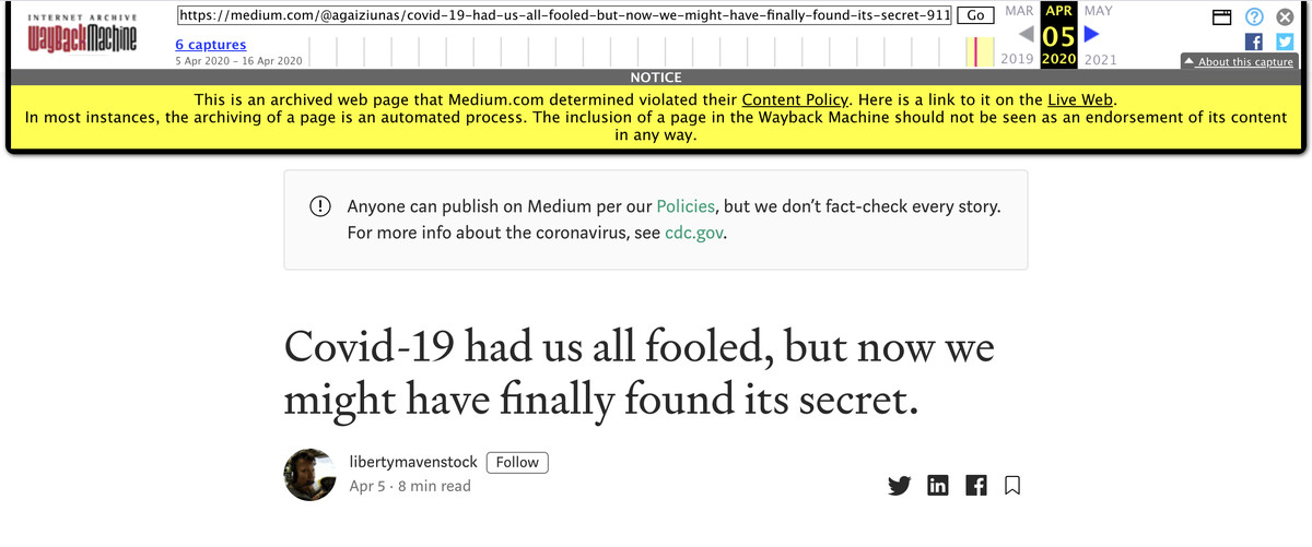 A post removed from Medium for making unsubstantiated claims about COVID-19, with a warning label.