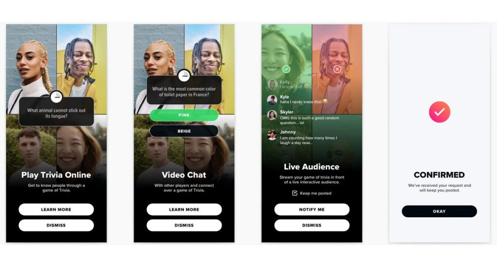 Tinder starts checking out live in-app trivia