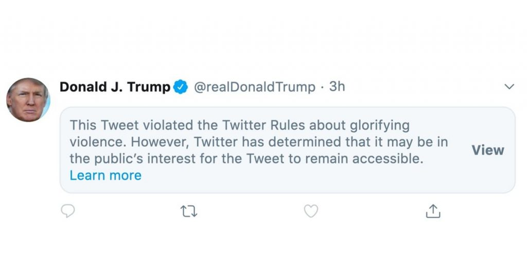 Twitter restricts new Trump tweet for 'glorifying violence'