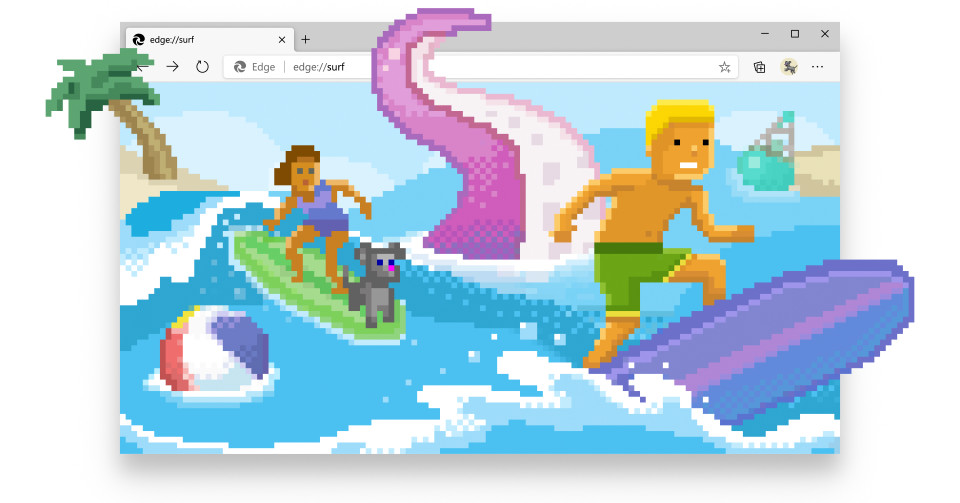 you can now play Microsoft's new surf game throughout the Aspect browser