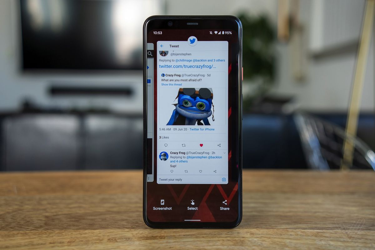 """Android 11's """"recents"""" screen shows you how to directly select text to copy."""