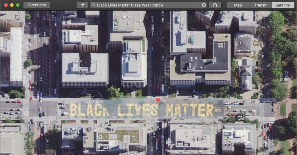 Apple Maps updated with giant Black Lives Matter DC mural