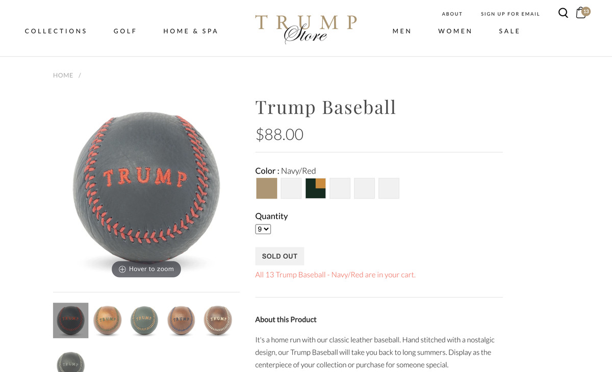"""Trump Store baseball page showing """"sold out"""" error"""