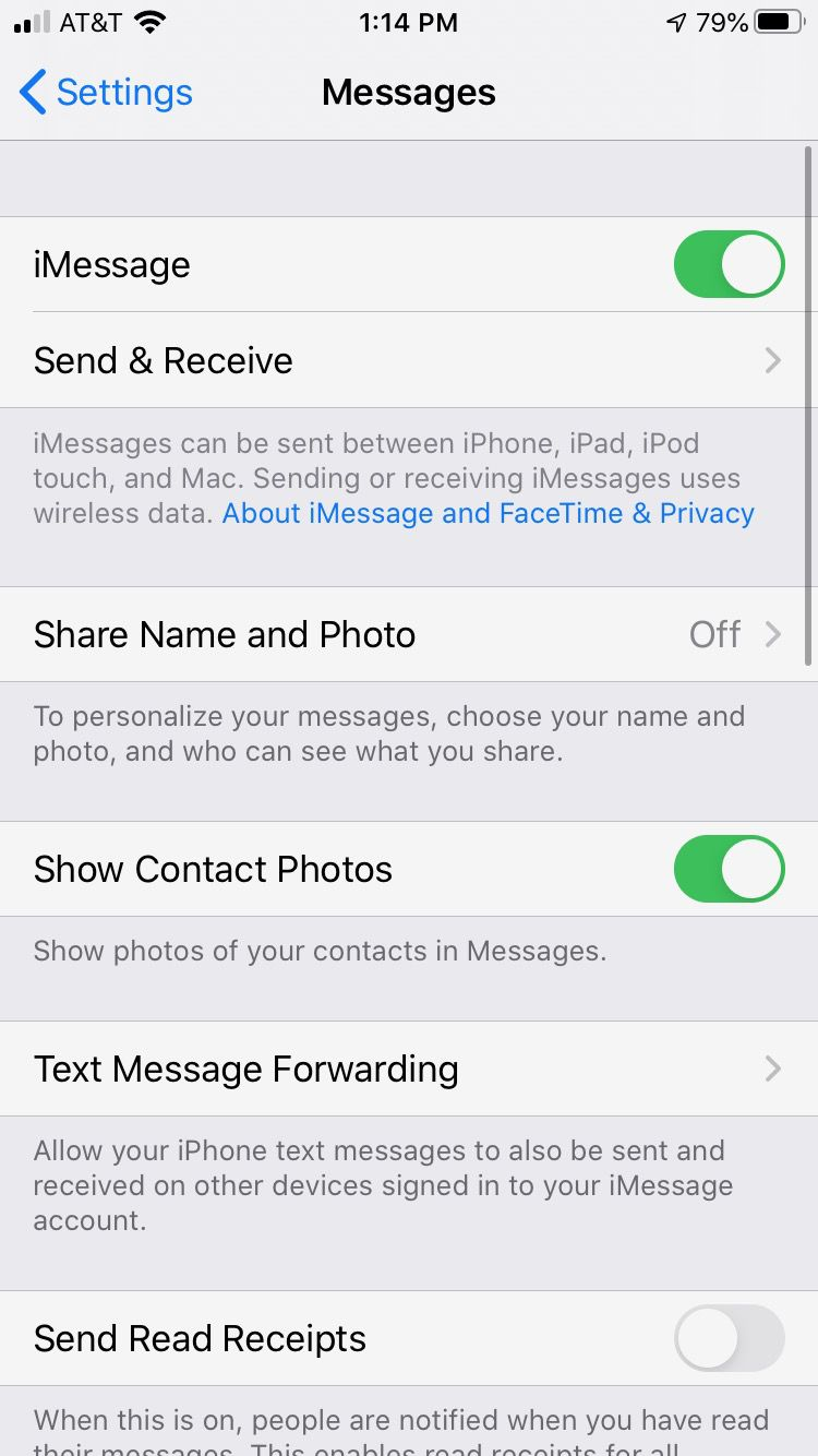 iPhone Messages settings