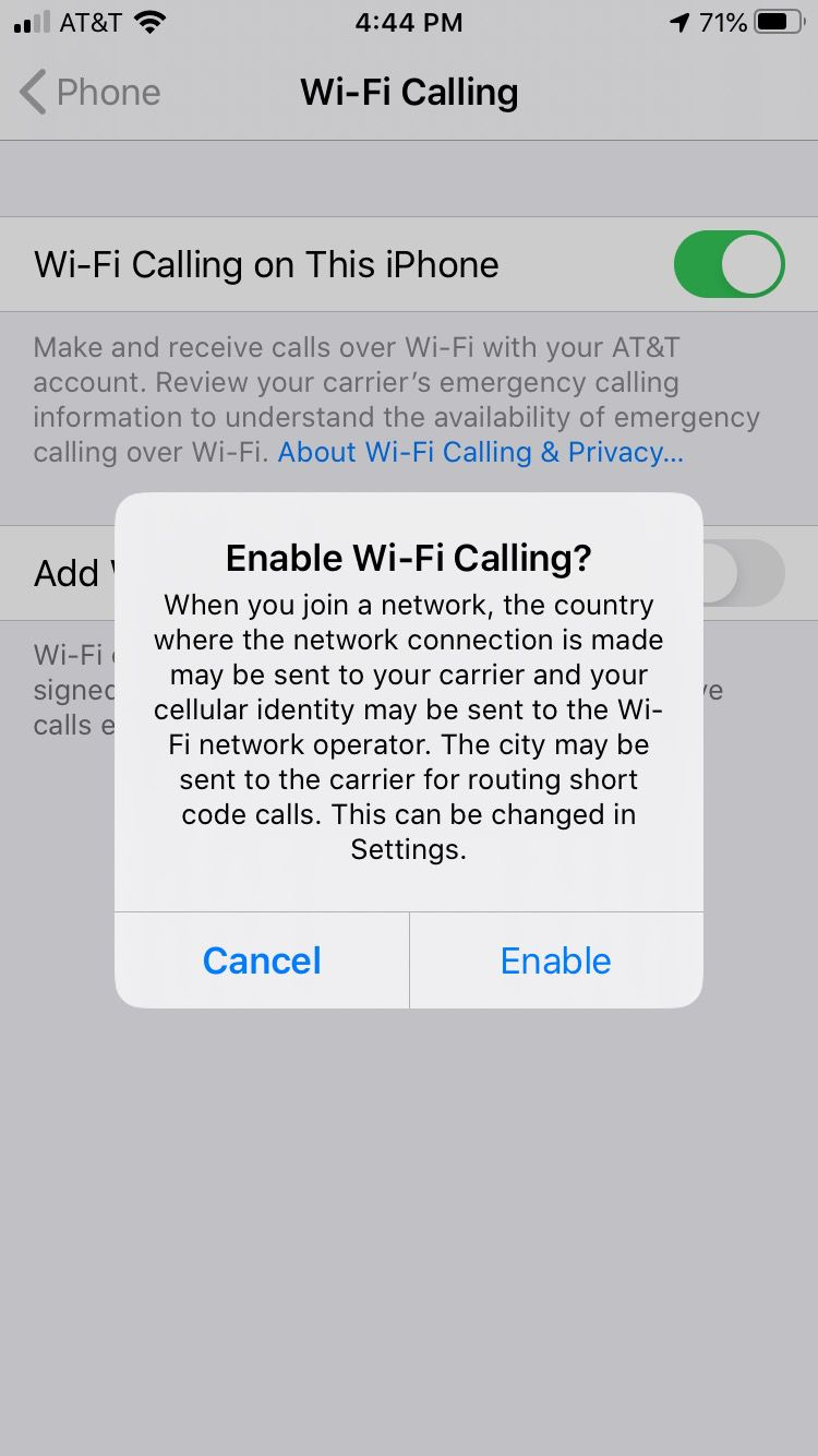 Message that appears after enabling Wi-Fi Calling