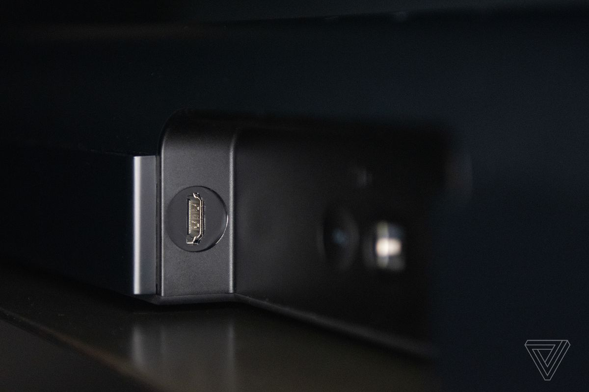 A detail shot of the HDMI port on the Sonos Arc.