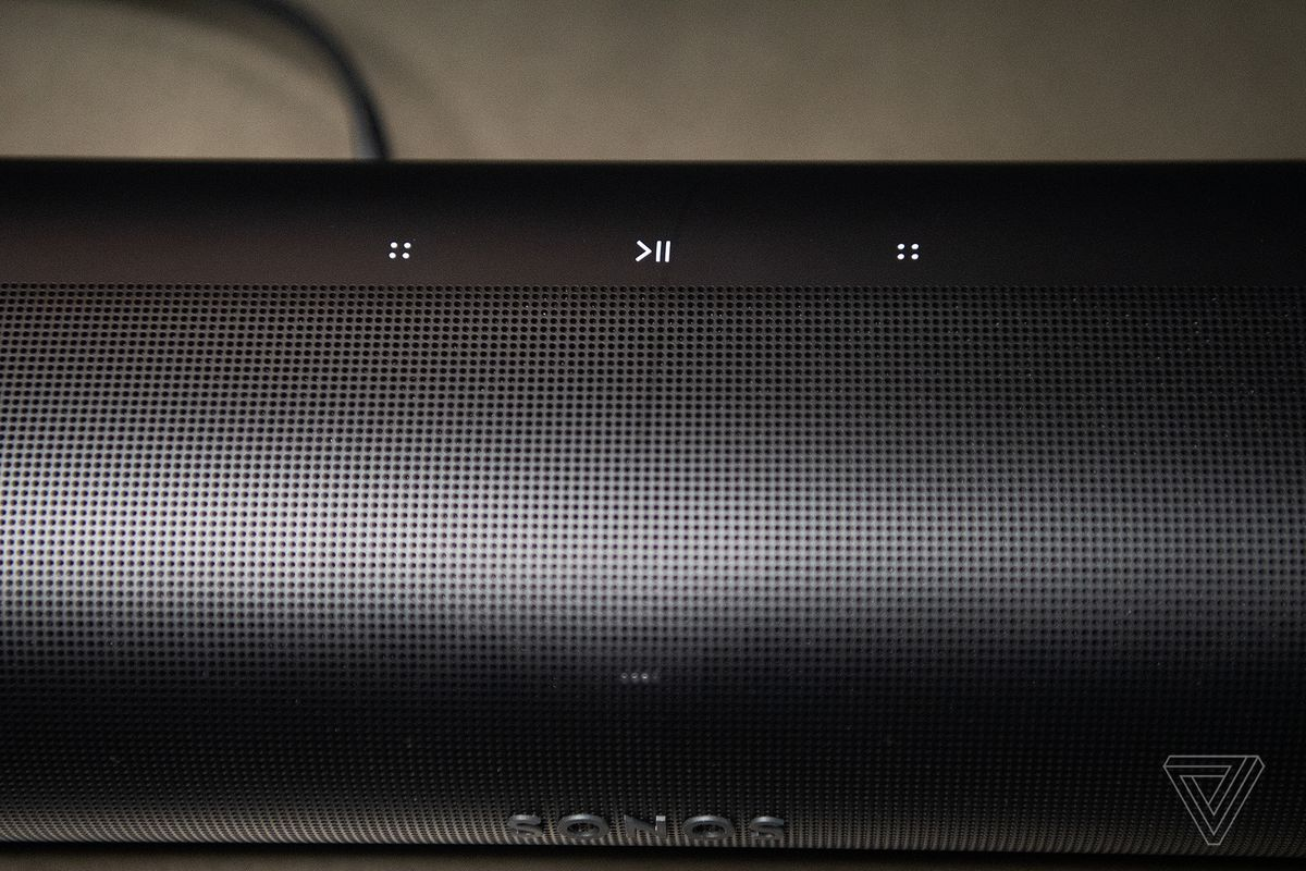 An overhead view of the capacitive buttons at the top of the Sonos Arc.