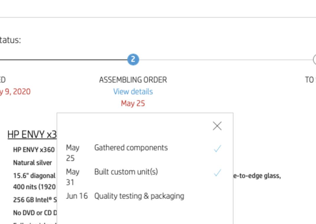 A screenshot of one custom HP Envy x360 15t order, showing over a three-week shipping period.