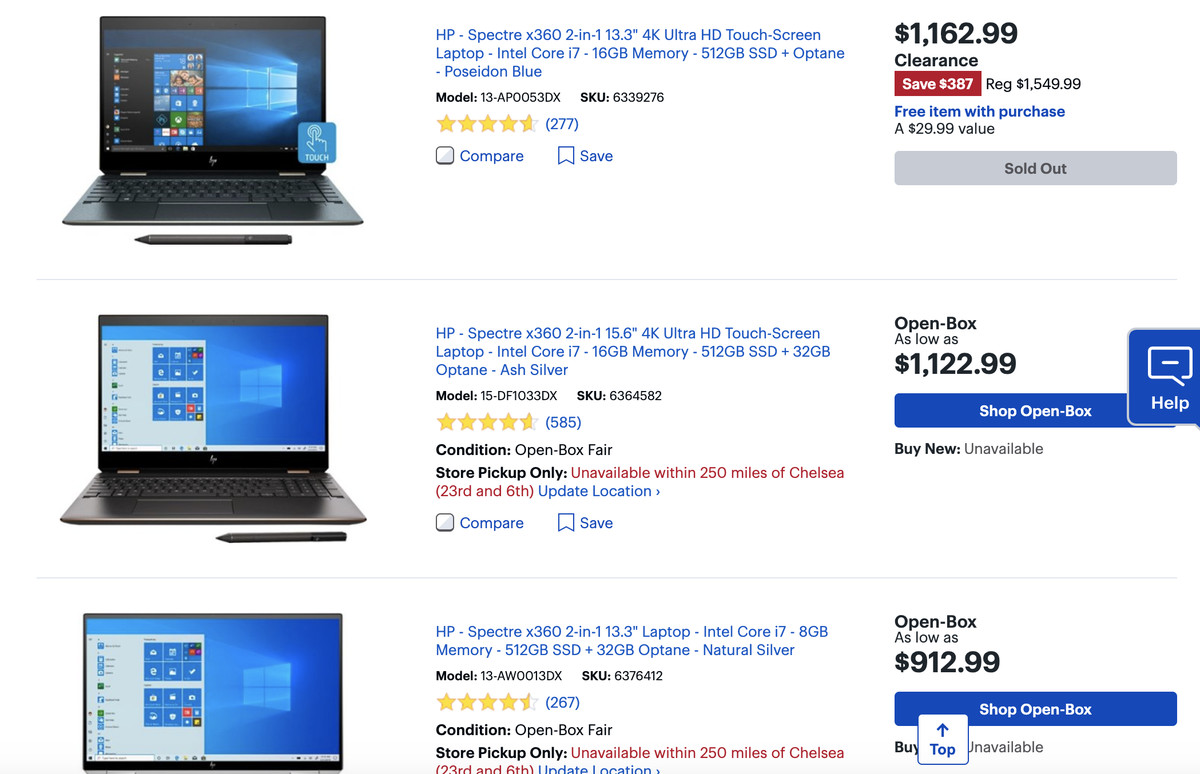 Spectre x360 models at Best Buy shown as sold out or unavailable.