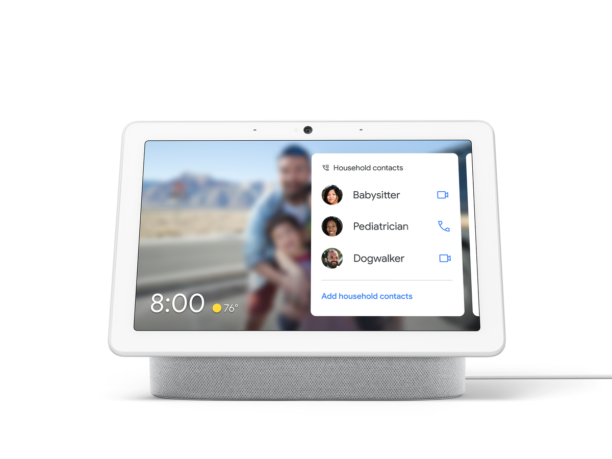Google's new Household Contacts feature on a Nest Hub Max smart display