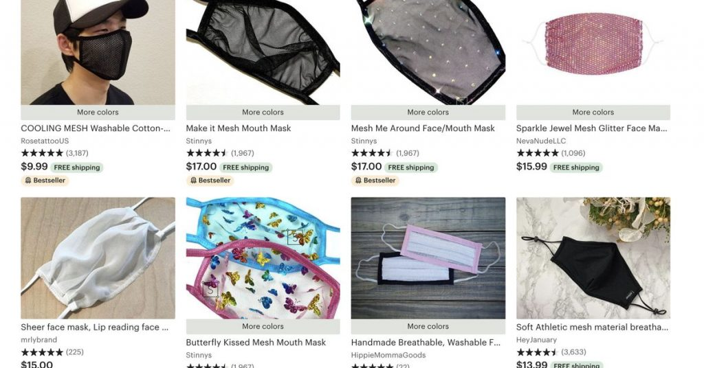 "Etsy sellers are offering sheer mesh face masks that provide ""very little protection"""