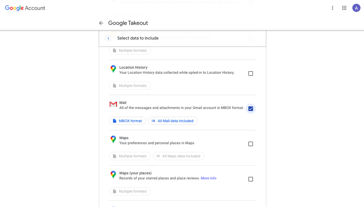 Google Takeout options