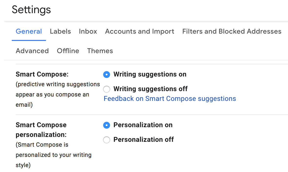 You can let the AI engine personalize your Smart Compose suggestions.