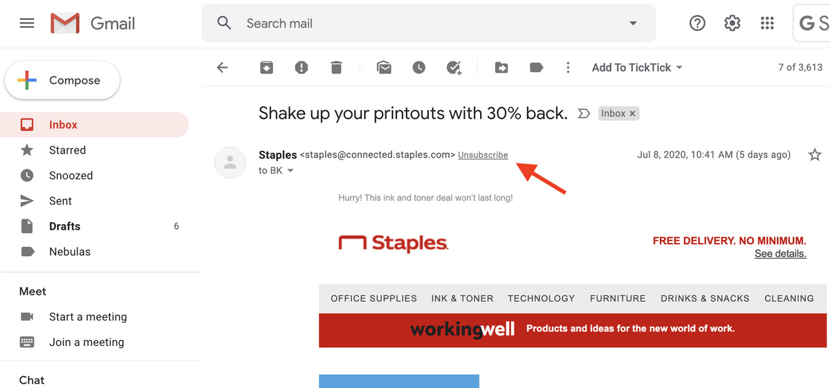 """Gmail's AI engine marks promotional emails with an """"Unsubscribe"""" link."""