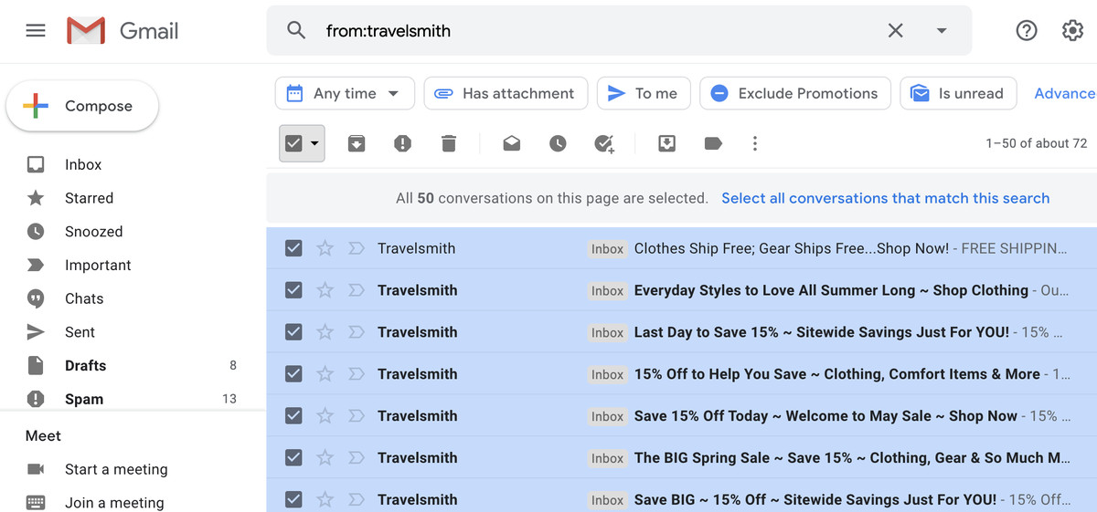 If you have more than one page of emails that match a search, you can choose to select all emails that match it.