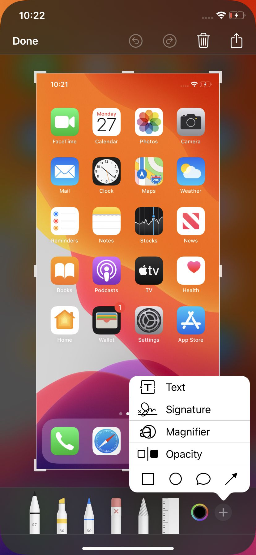 After taking a screenshot on your iPhone, you can edit it.
