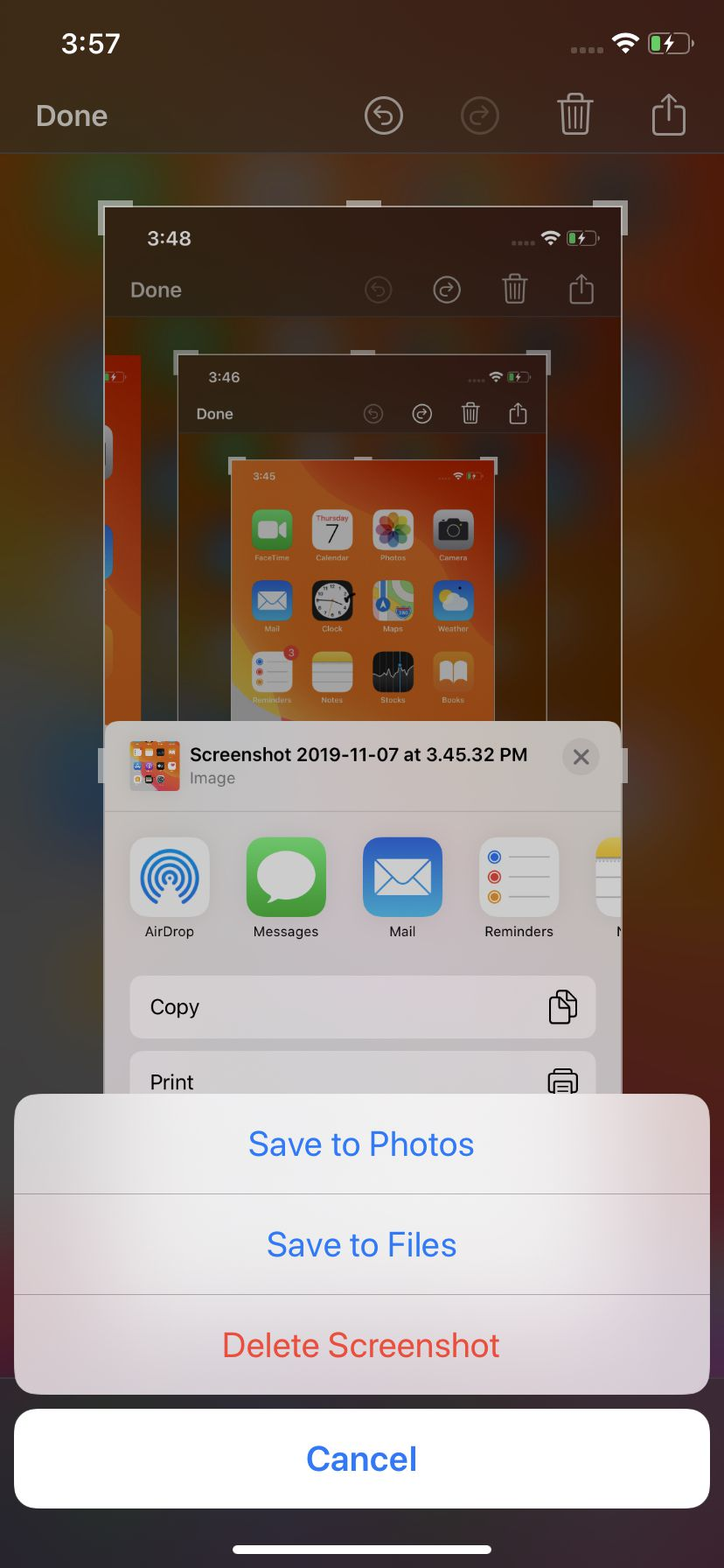 You can save your screenshot to Photos or Files.