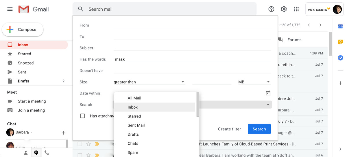 Create the search terms that will determine which emails will be labeled.