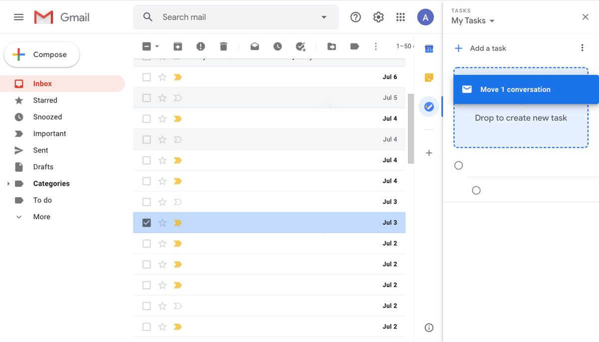 Adding an email as a task