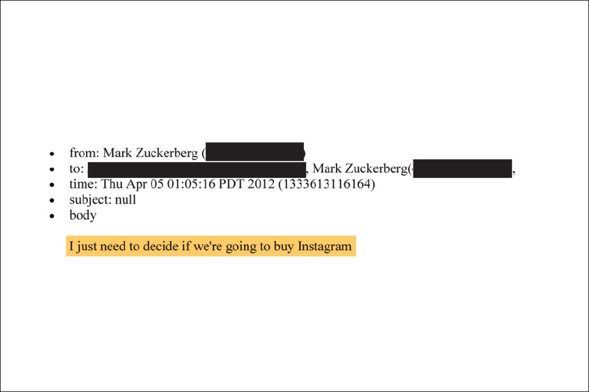 """From Mark Zuckerberg, to redacted, Thursday April 5 1:05pm, 2012. """"I just need to decide if we're going to buy Instagram"""""""