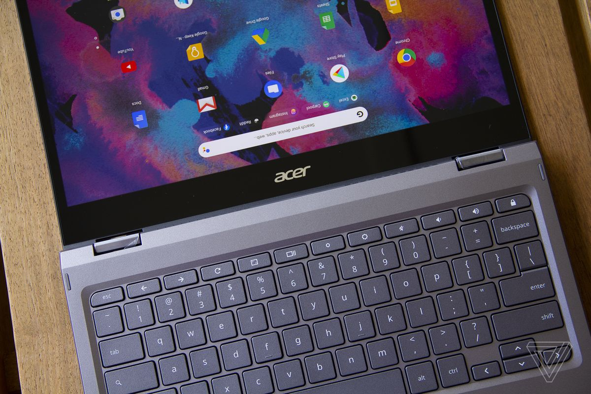 The Acer Chromebook Spin 713 laid out flat.