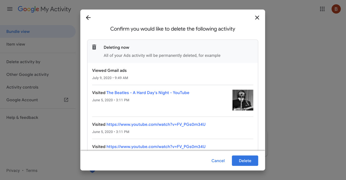 The last step before you delete your activity.
