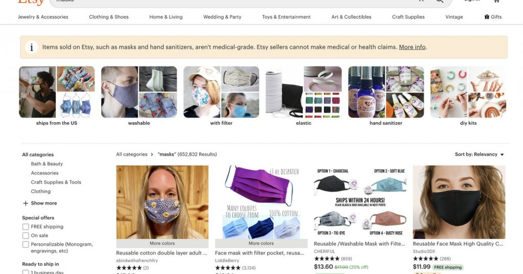 Etsy helped sell $346 million worth of homemade masks