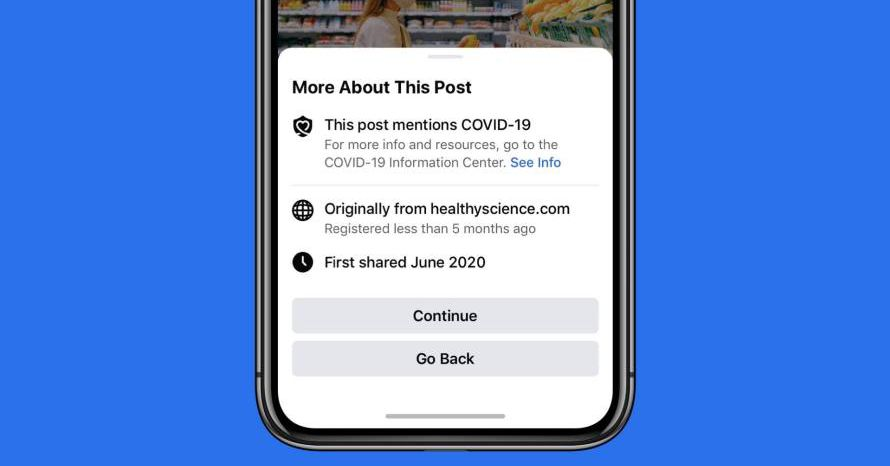 Facebook will now show a warning before you share articles about COVID-19