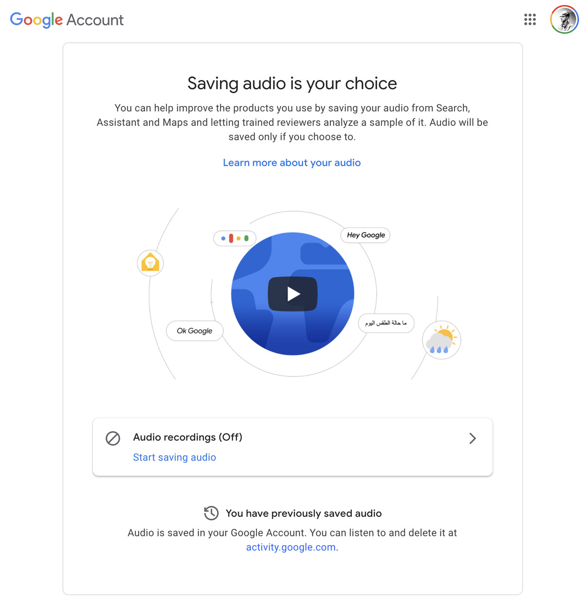 Google's website for opting back in to having audio recordings saved