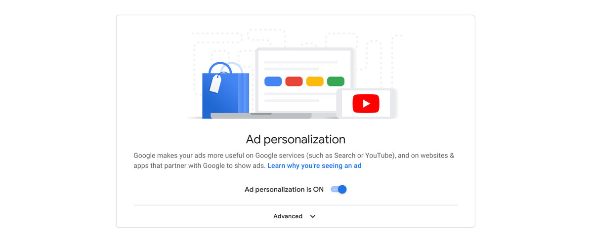 """A screenshot of the """"ad personalization"""" toggle in the """"on"""" position."""