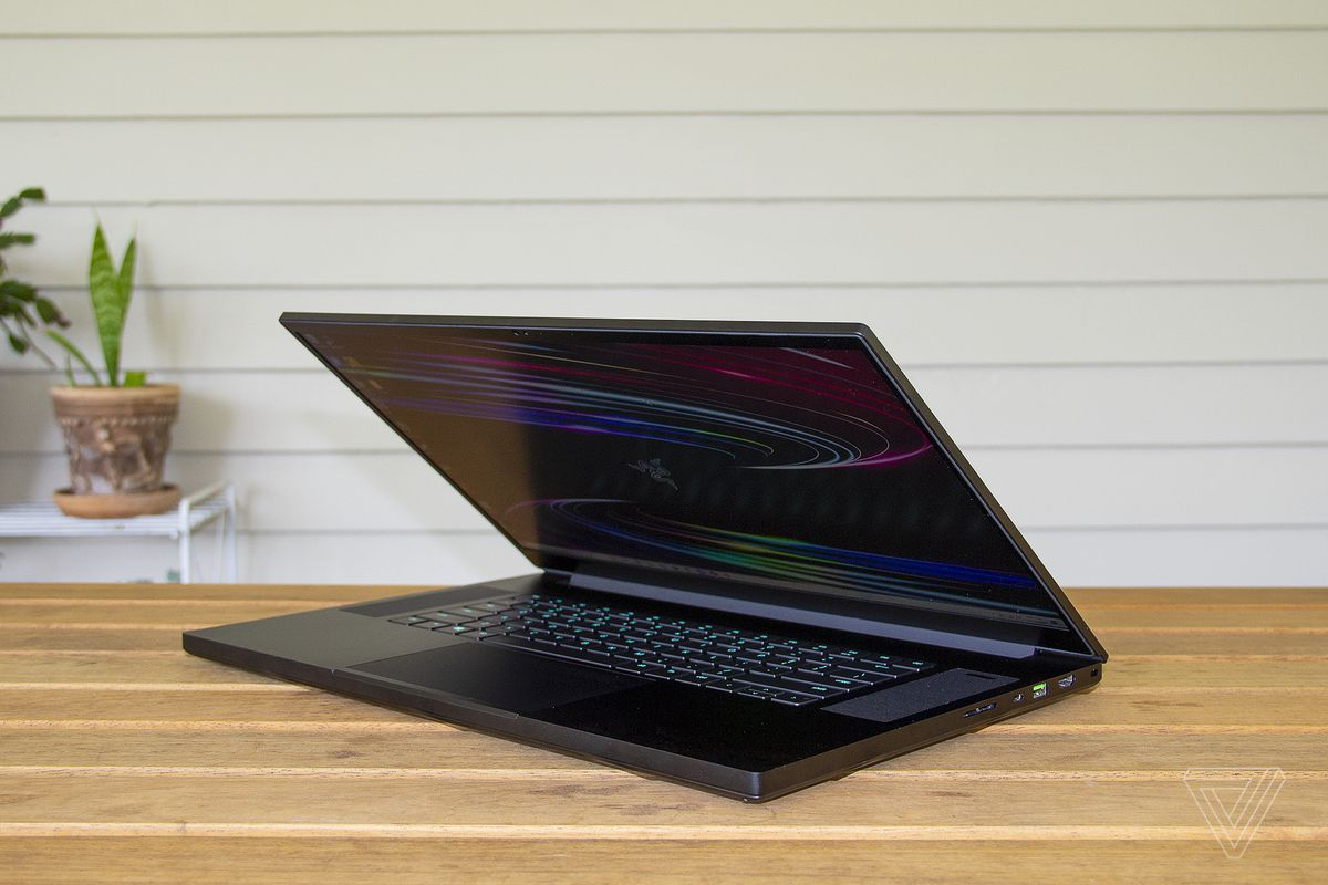 The Razer Blade Pro 17 half open from the right side.