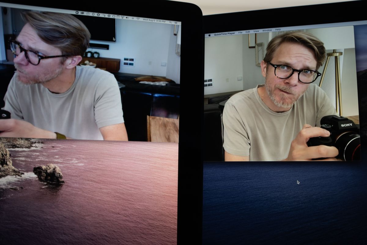 2017 iMac on the left, 2020 iMac on the right. The difference in webcam quality is instantly apparent.