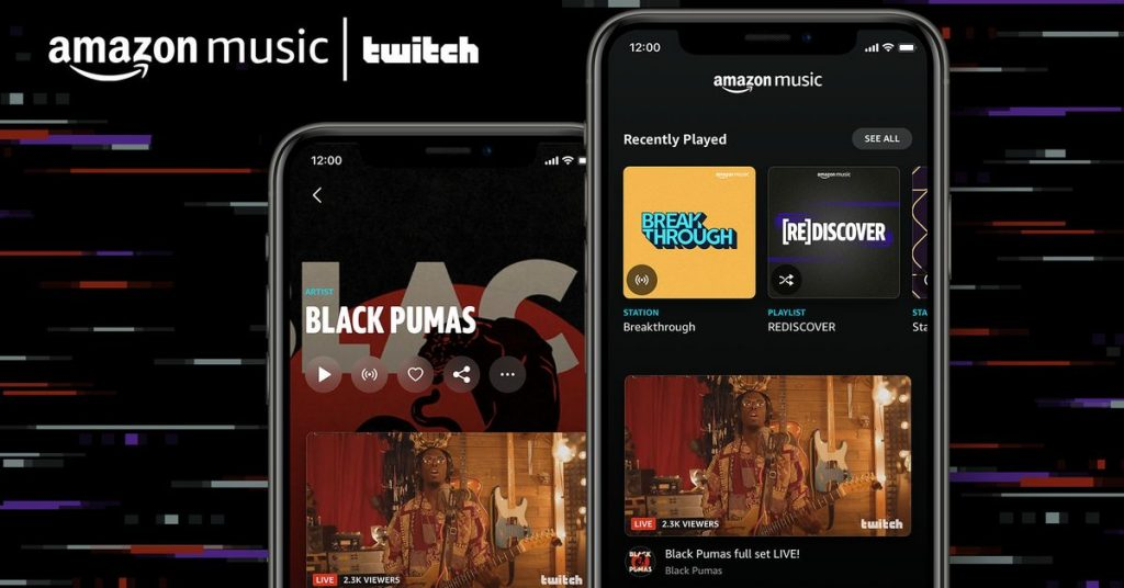 Amazon Music now lets you watch artists when they're live on Twitch