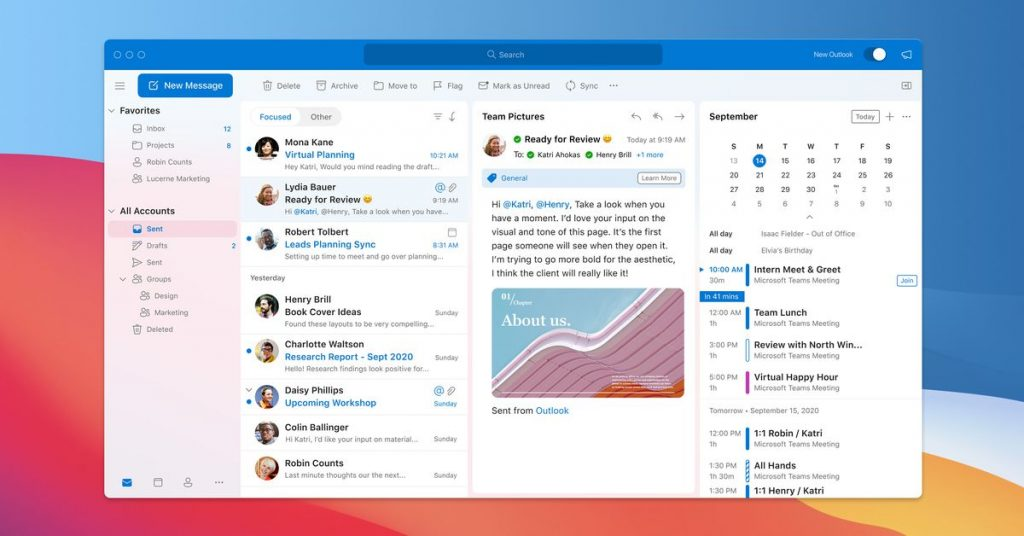 Microsoft's new Outlook for Mac design launches in October