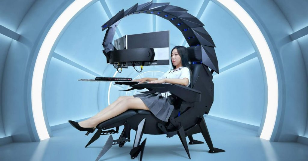 Nothing says 'ready to game' quite like being cocooned in a giant scorpion cockpit