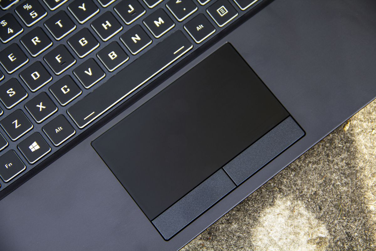 The Origin EVO15-S touchpad from above.